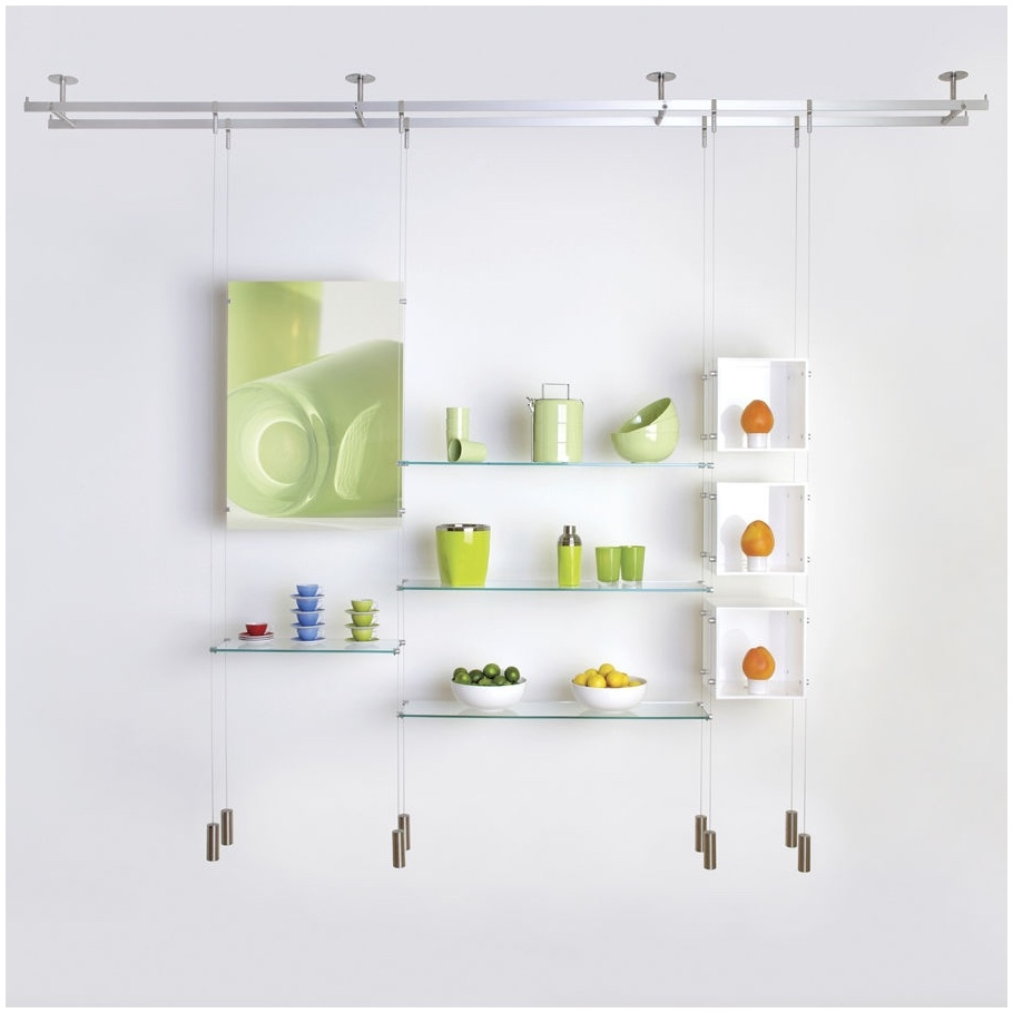 Popular Photo of Hanging Glass Shelves From Ceiling