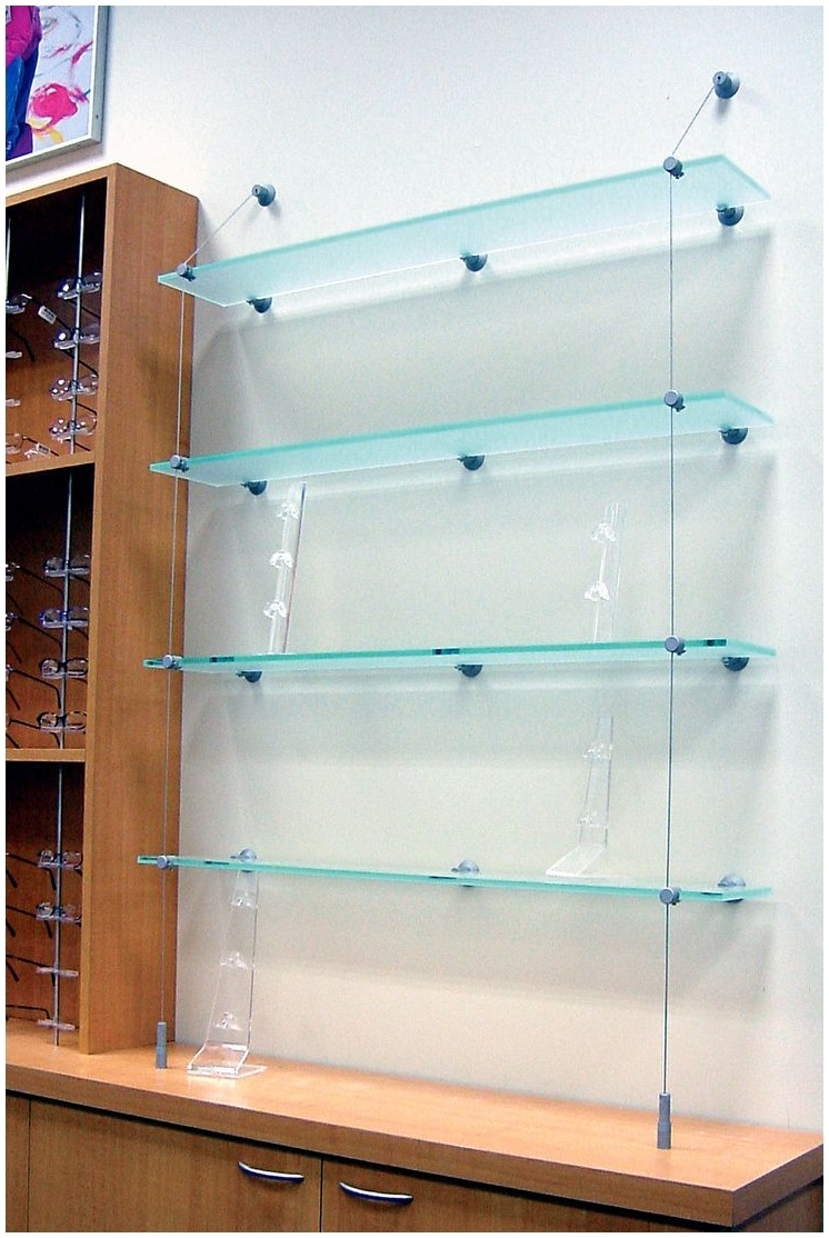 Suspended Glass Shelving Systems Design Modern Shelf Storage And With Regard To Cable Suspended Glass Shelves (#12 of 12)