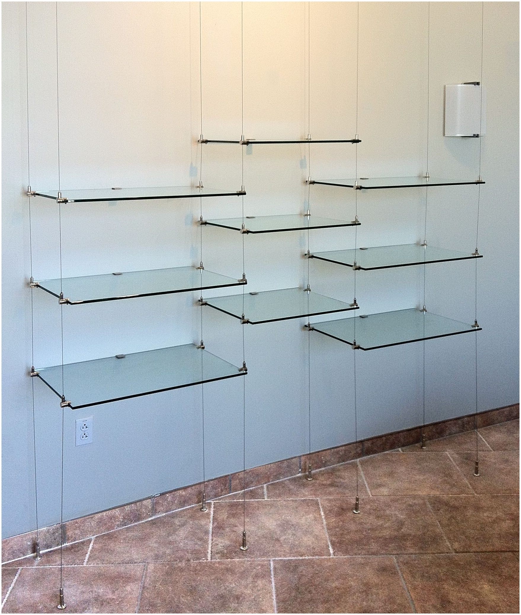Suspended Glass Shelving Systems Design Modern Shelf Storage And With Regard To Glass Shelf Cable Suspension System (#14 of 15)