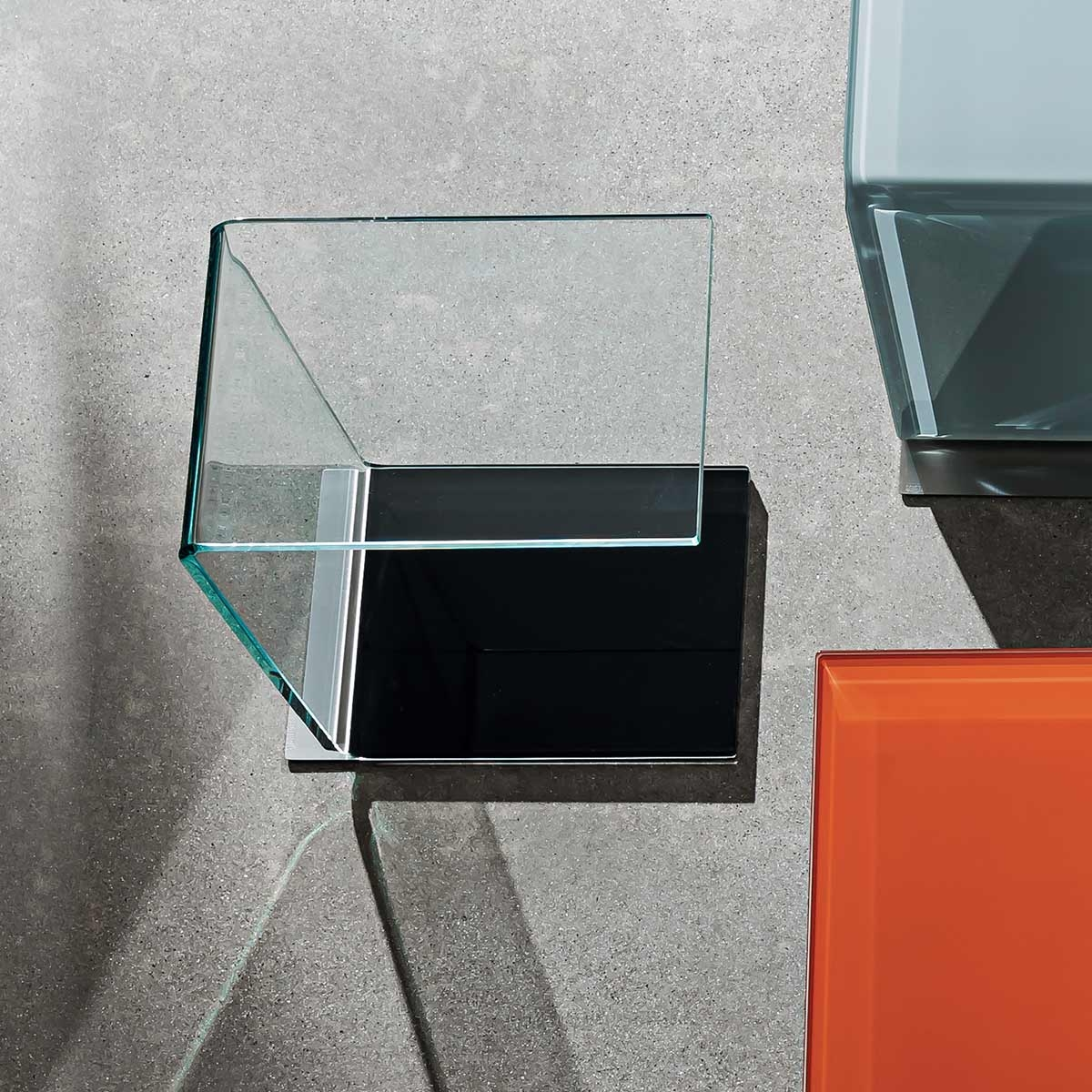 Swan Curved Glass Table Coloured Base Klarity Glass Furniture With Regard To Coloured Glass Shelves (#13 of 15)