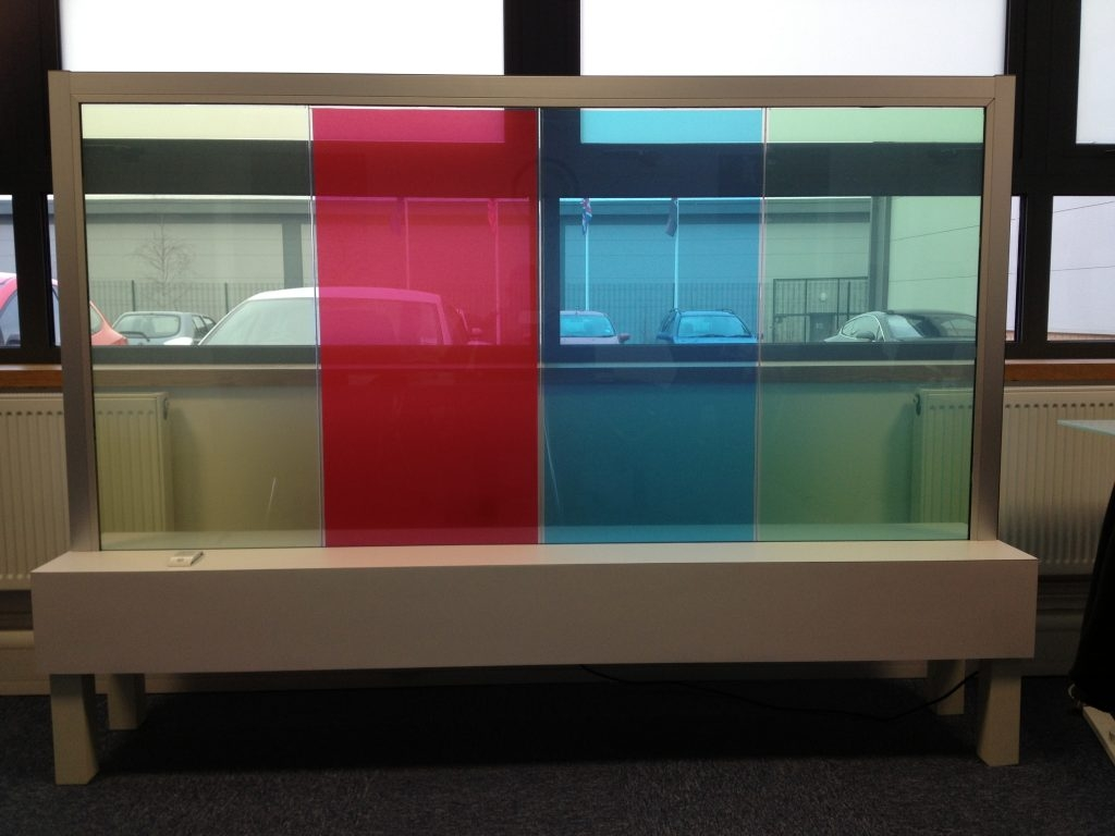 Switchable Coloured Glass Within Coloured Glass Shelves (#14 of 15)