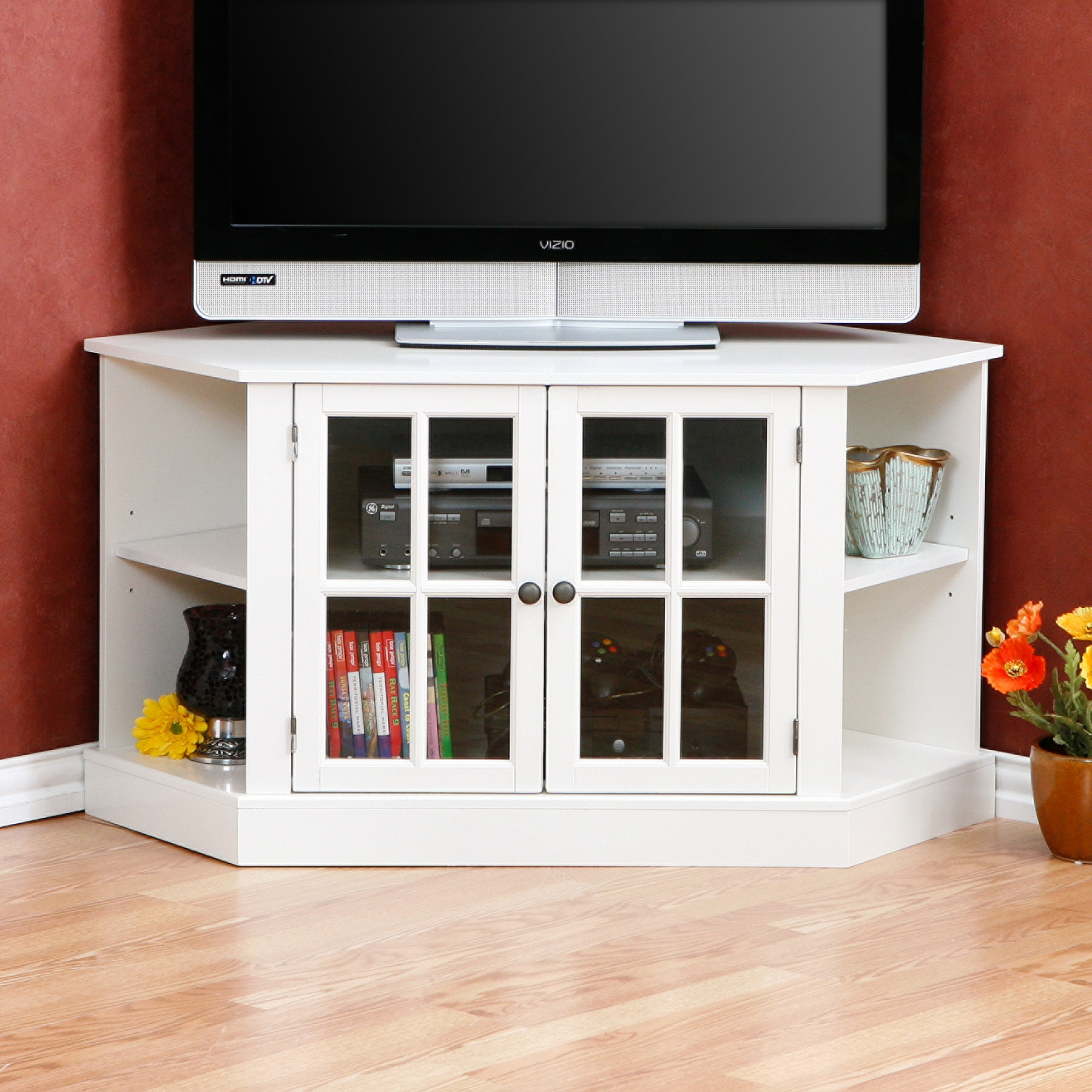 Tall Corner Tv Stand Designs And Images Homesfeed With Tv Corner Shelf Unit (#12 of 15)