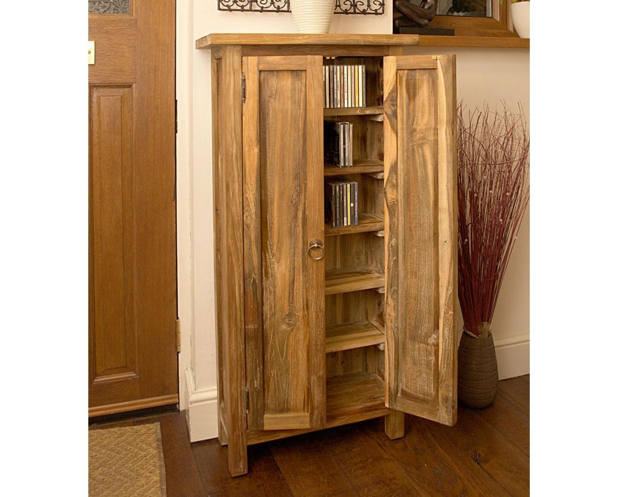 Teak Cd Storage Cupboard Rustic Storage Puji Furniture With Regard To Bespoke Cd Storage (View 13 of 15)