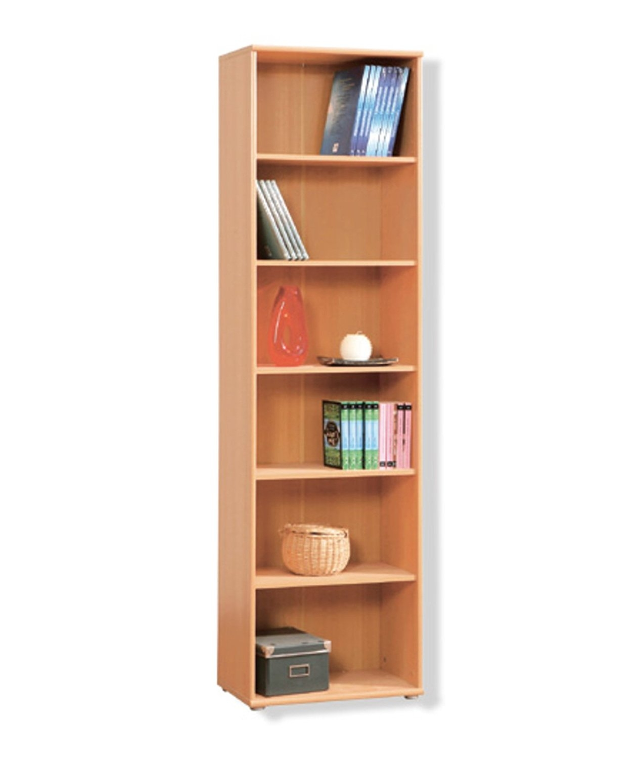 Tempra Tall Narrow Beech Bookcase Bookshelf Home Office Furniture Intended For Beech Bookcases (View 13 of 15)