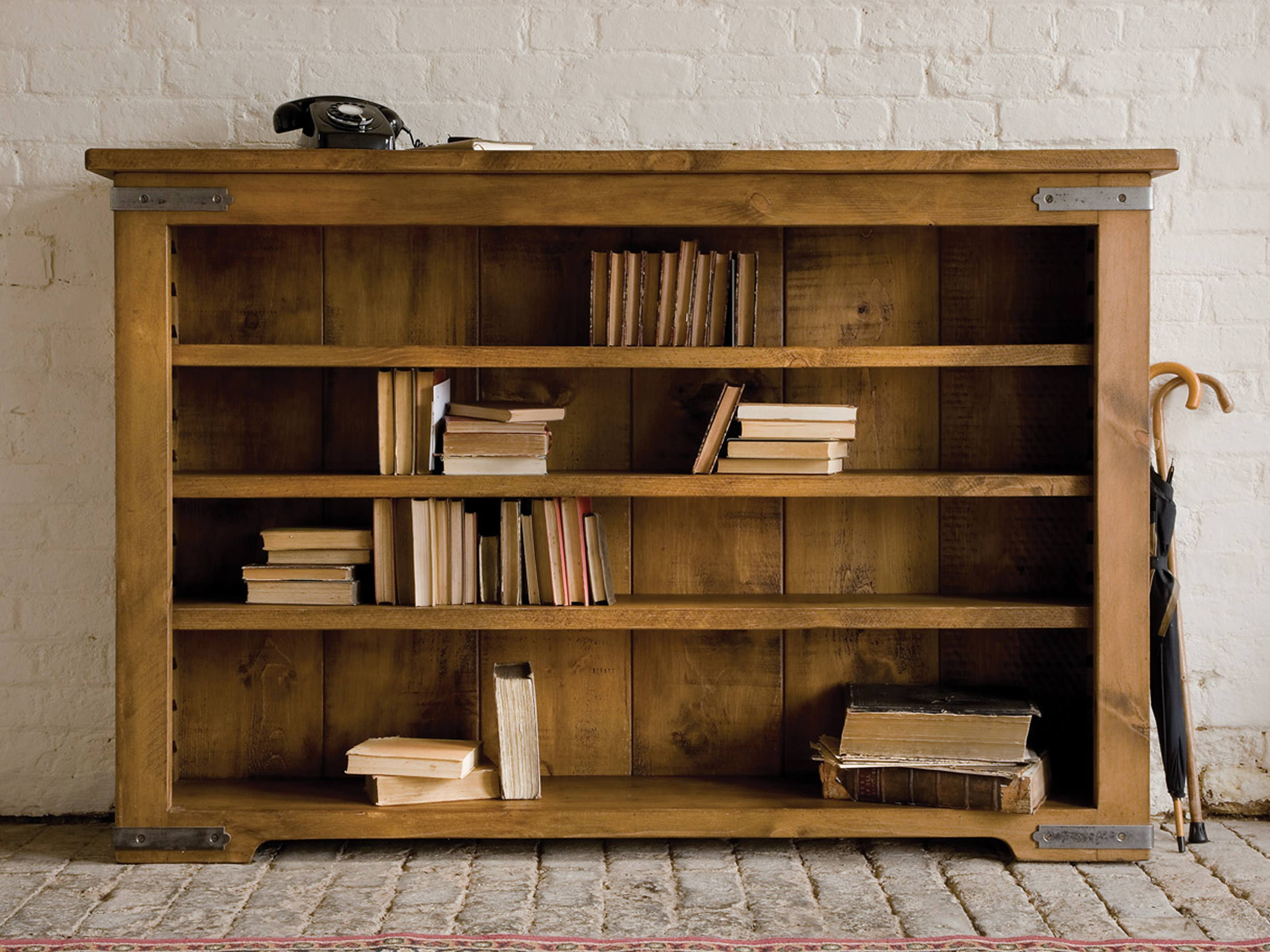 Terrific Unfinished Oak Low Bookcase Over Stones Floors And White Inside Large Wooden Bookcases (View 7 of 15)