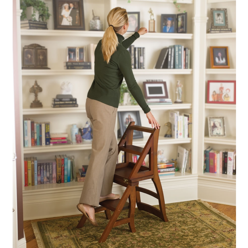 The Benjamin Franklin Library Ladder Chair Hammacher Schlemmer Regarding Library Ladder (View 15 of 15)