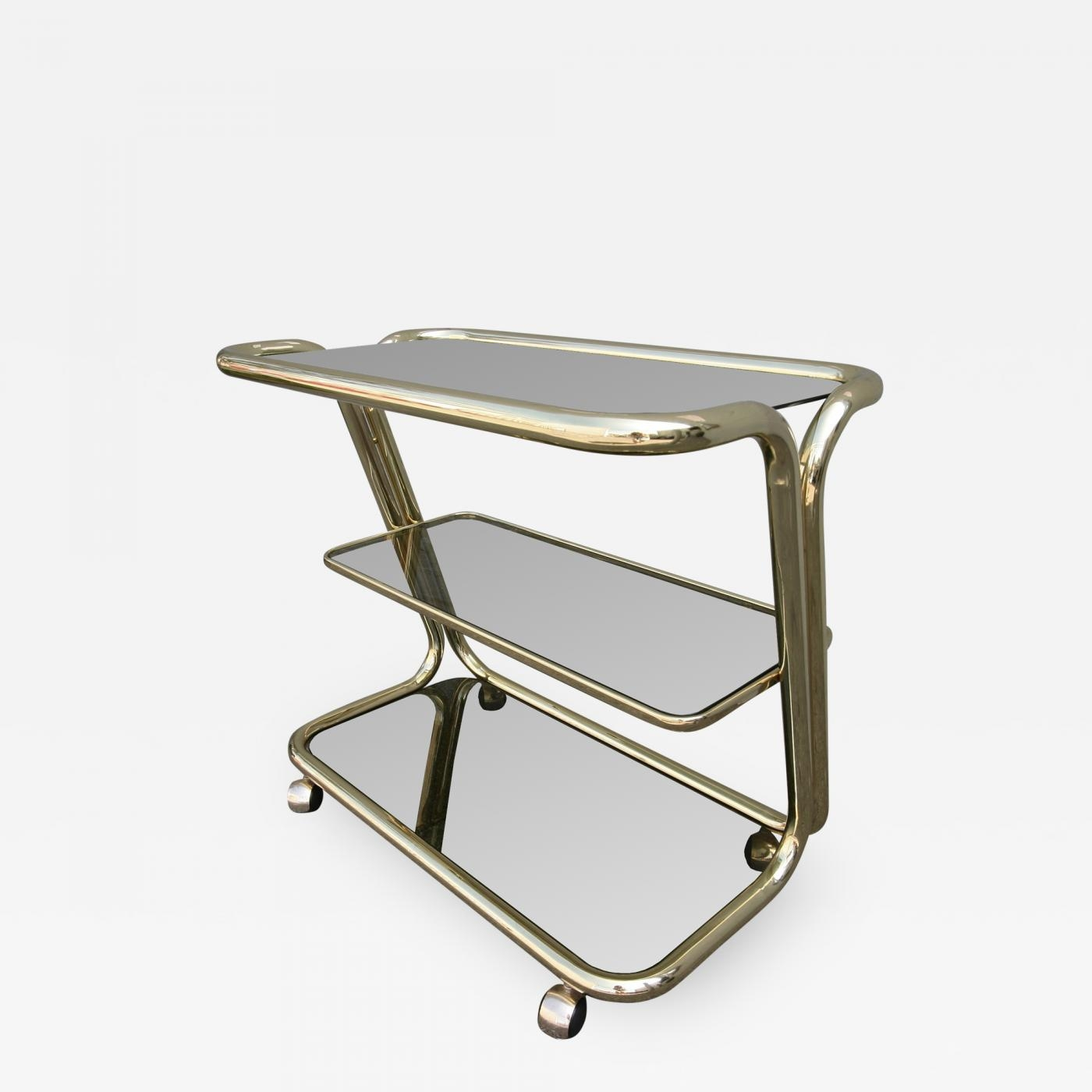 Three Tiered 1970s Brass Bar Cart With Smoked Glass Shelves For Smoked Glass Shelves (#13 of 15)