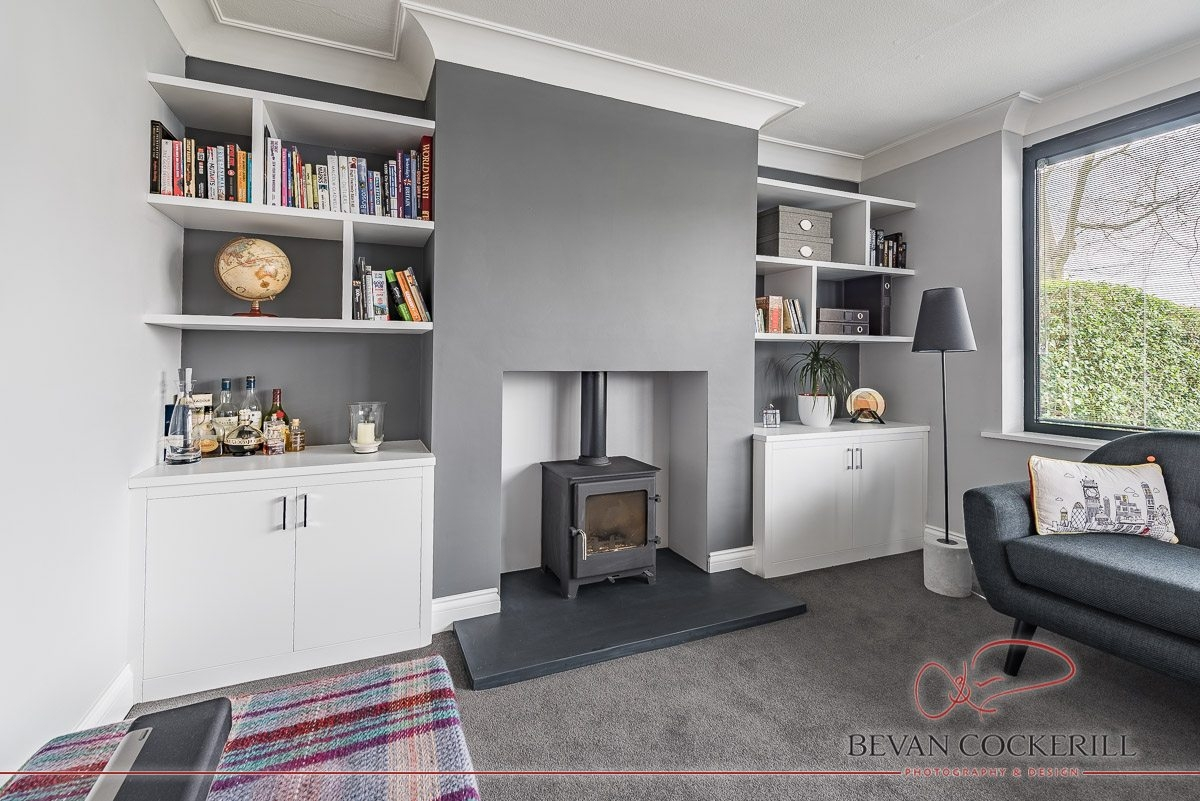 Tom Maxwell Furniture White Alcove Fitted Bookshelves Bevan Intended For Fitted Bookshelves (View 12 of 15)