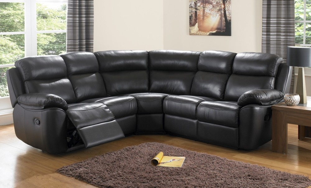 Popular Photo of Large Black Leather Corner Sofas