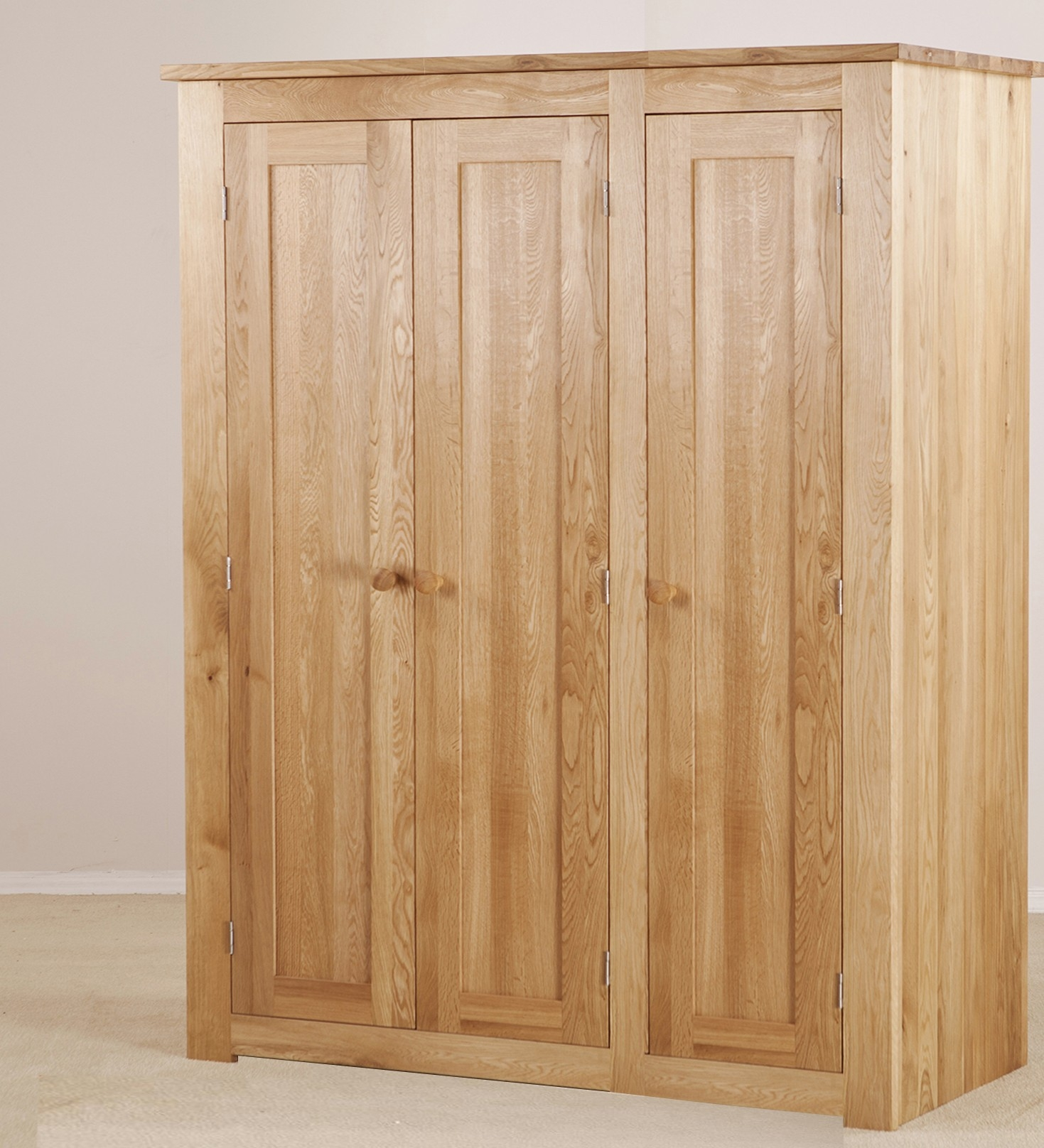Torino Solid Oak Large 3 Door Wardrobe Furniture4yourhome Pertaining To Solid Wood Fitted Wardrobes (View 9 of 15)