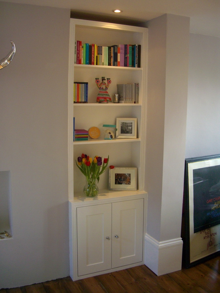 Trad Alcove Bookcase Cupboard Option Would Do Without The Throughout Fitted Shelves (View 2 of 15)