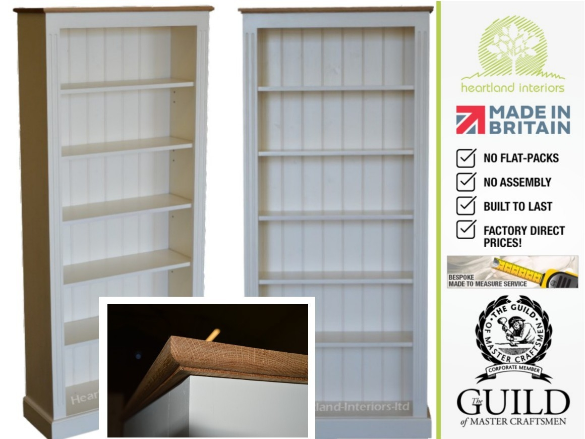 Traditional 6ft X 3ft Bookcase With Oak Top B Oak6 With Regard To White Painted Bookcase (#10 of 15)