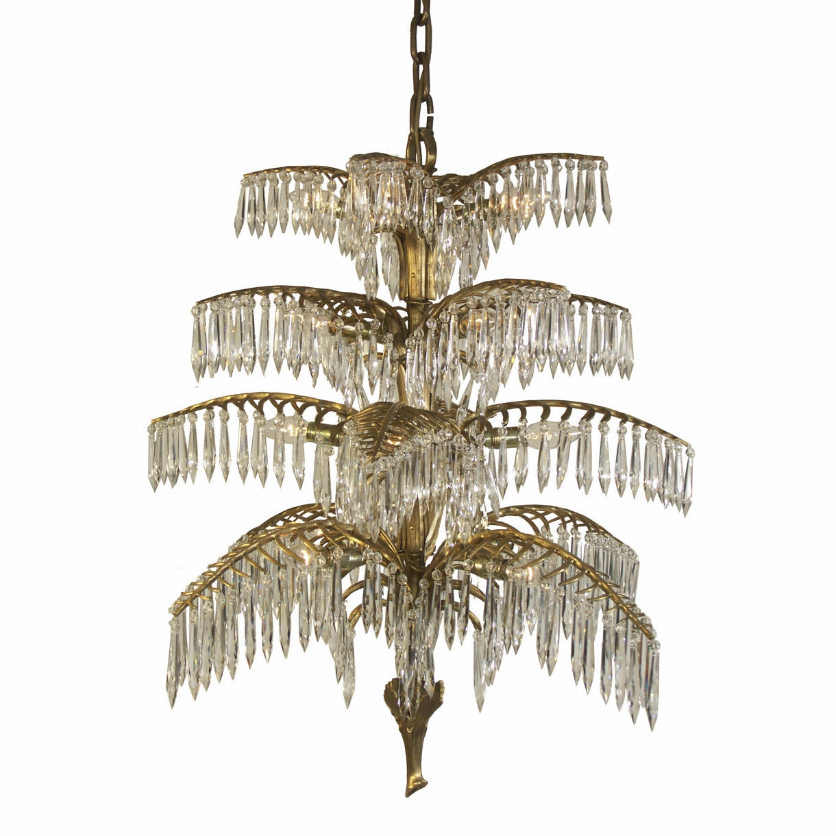 Traditional Chandelier Crystal Brass Handmade Palme 20332 Throughout Traditional Chandelier (#5 of 12)