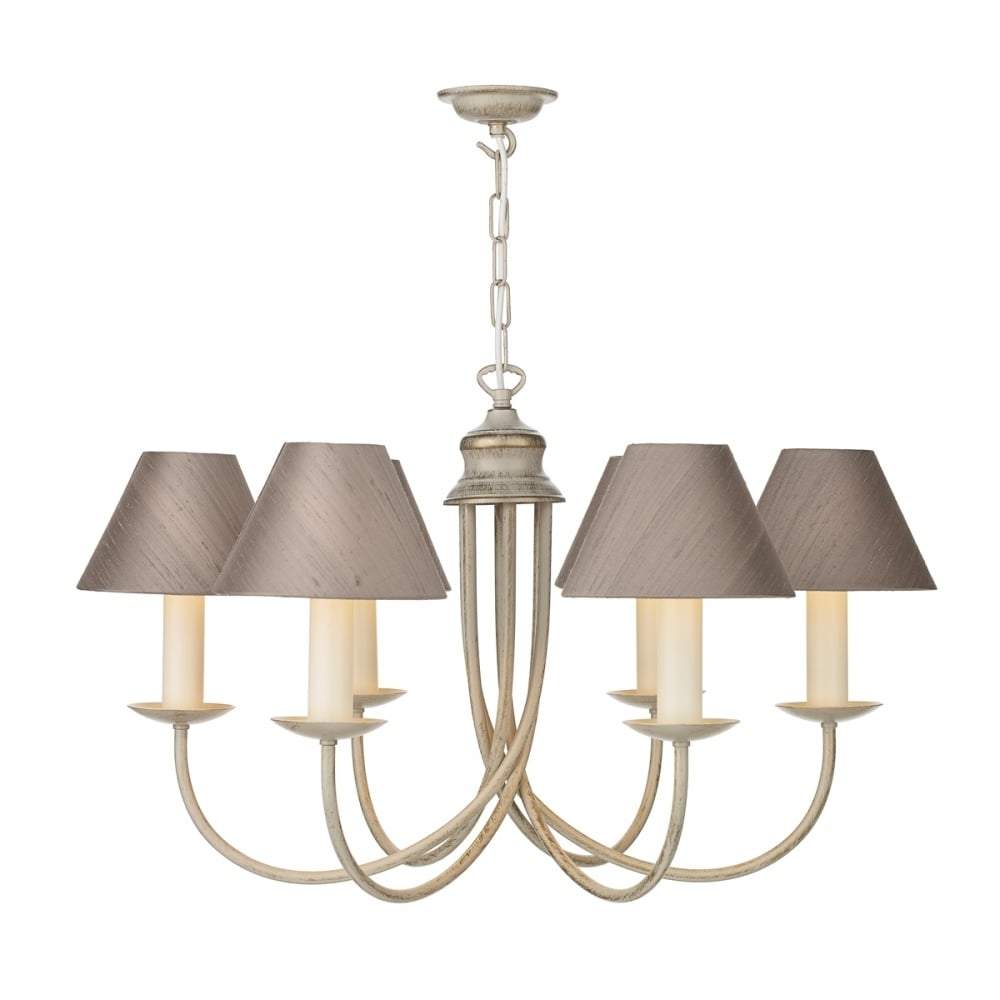 Traditional Long Drop 5 Light Creamy Gold Chandelier With Silk Shades Within Cream Chandelier (#11 of 12)