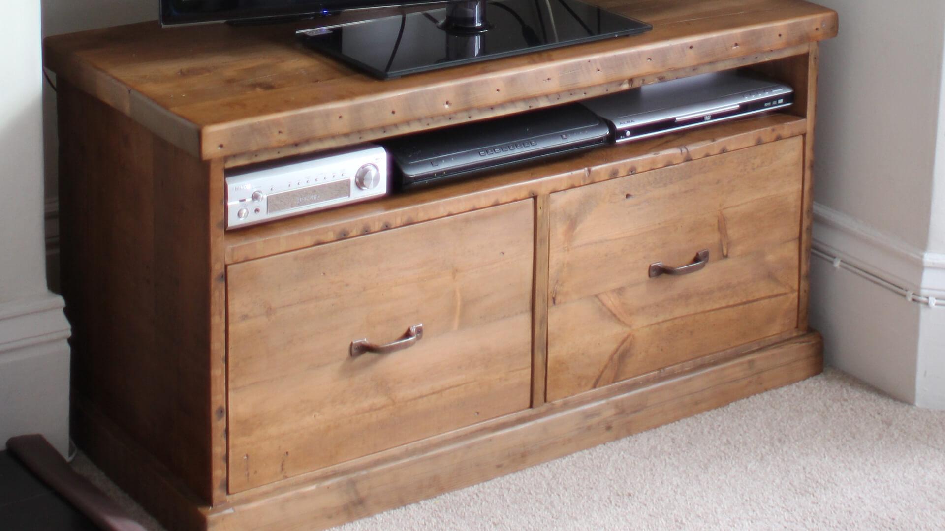 Traditional Reclaimed Pine Tv Unit Handmade In Britain Av Soul Intended For Handmade Tv Unit (View 13 of 15)