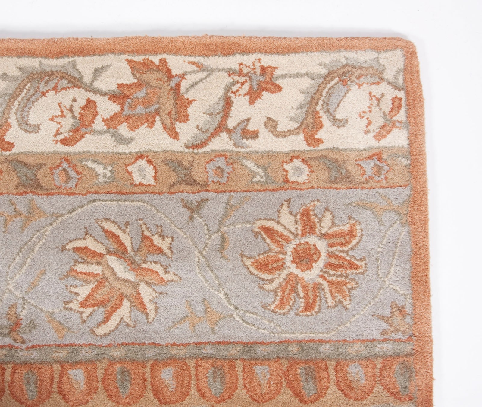 Traditional Royal Hand Tufted Wool Area Rug 5×8 Ivory Orange Blue Regarding Wool Area Rugs 5× (#12 of 15)