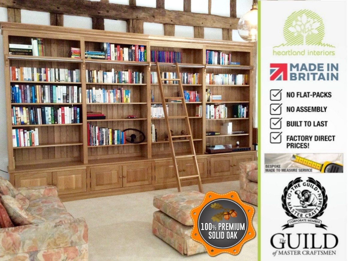 Traditional Solid Oak 8ft X 14ft Library Bookcase With Ladder Intended For Library Cupboards (#11 of 12)