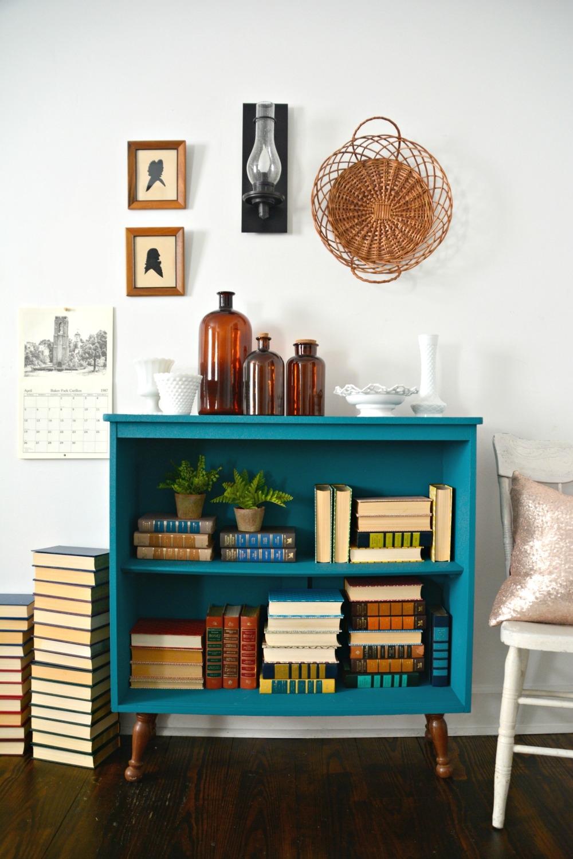 Tranquil Bookcase With Velvet Finishes Paint Regarding Painted Bookshelf (#14 of 15)