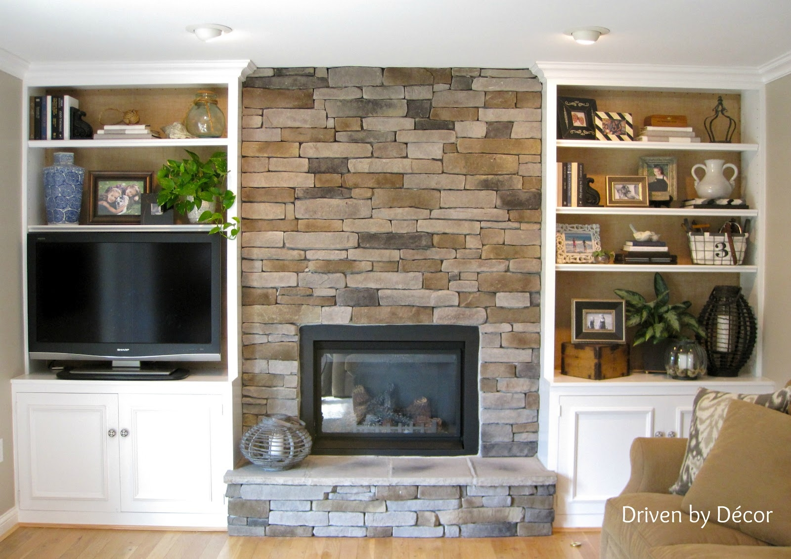 Transforming A Fireplace And Built In Bookcases Love The Stone With Regard To Built In Bookshelves With Tv (#15 of 15)