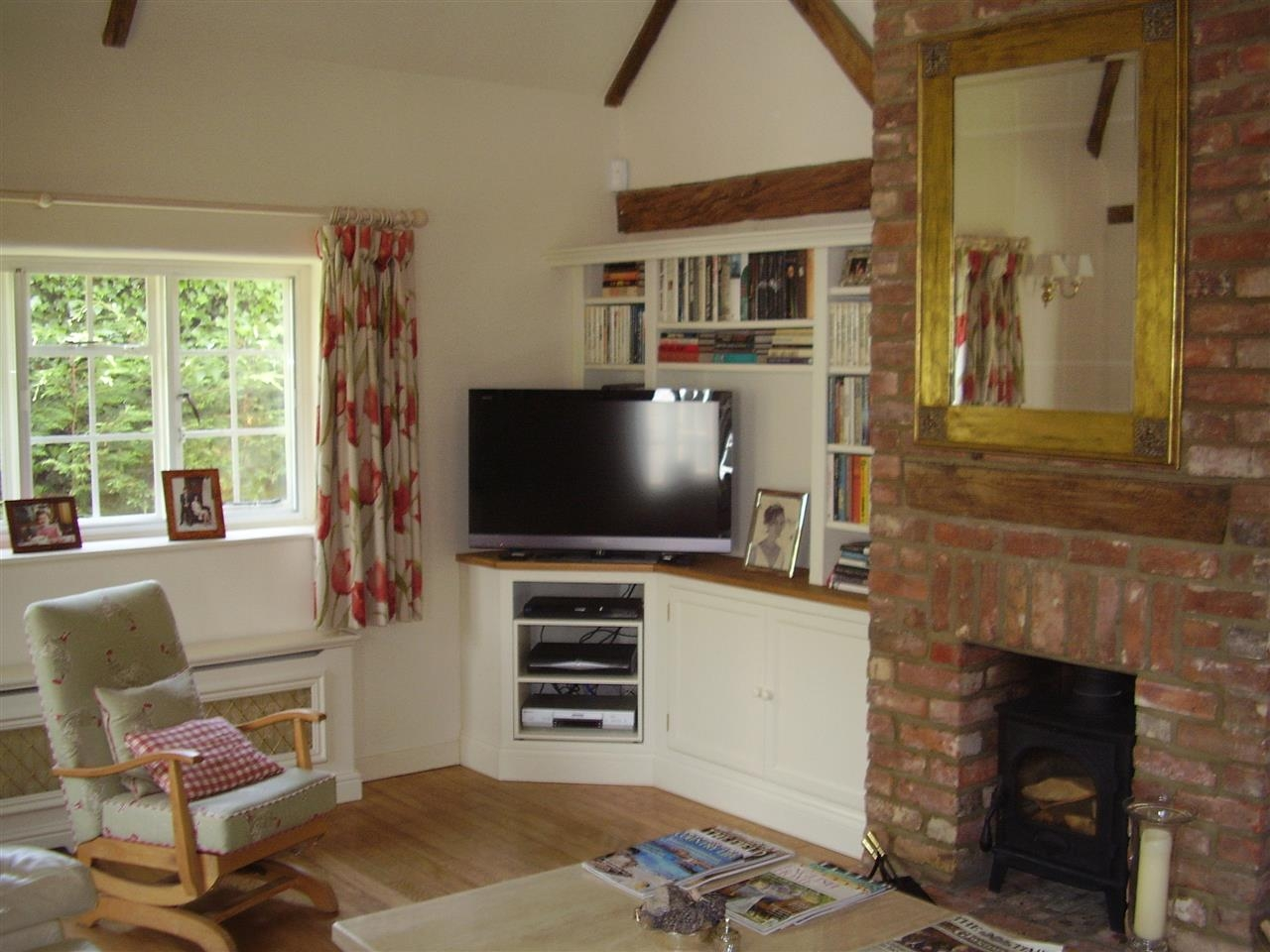 Transitional Family Room Design With Corner Tv Cabinet And With Tv Unit And  Bookcase (#