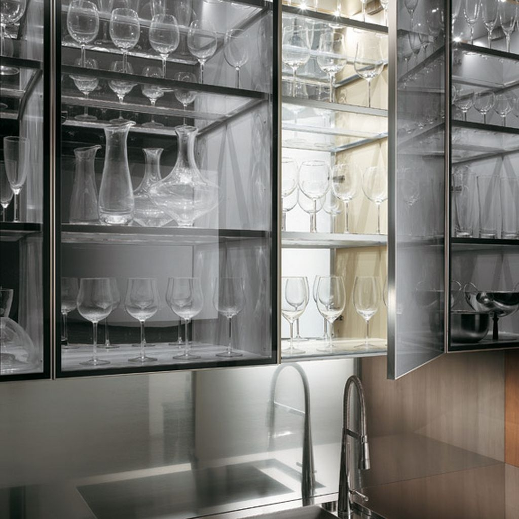 Transparent Glass Cabinet With A Kitchen Faucet In A Natural With Glass Kitchen Shelves (#12 of 12)