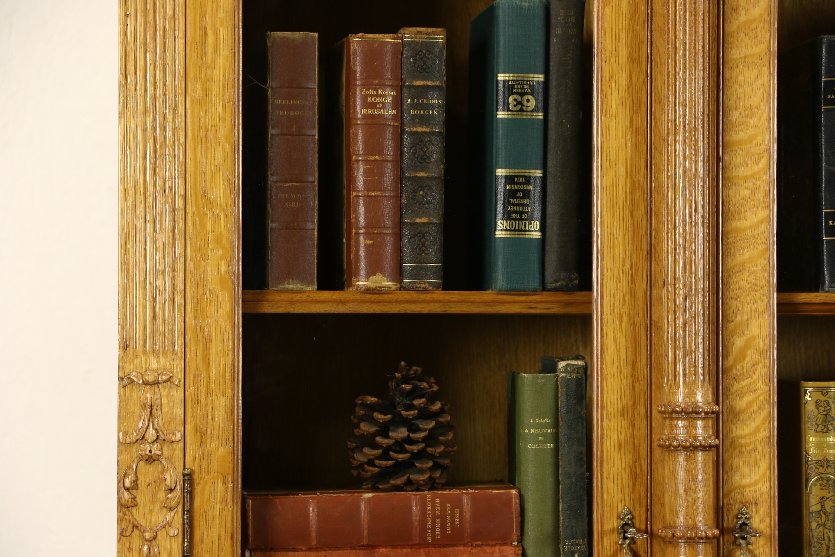 Triple 1890s Antique Carved Oak Library Bookcase Wavy Glass Intended For Oak Library Bookcase (View 13 of 15)