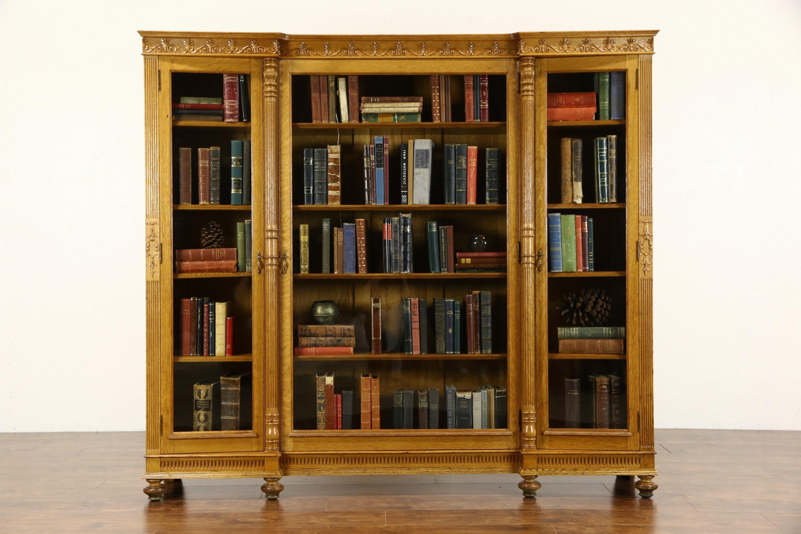 Triple 1890s Antique Carved Oak Library Bookcase Wavy Glass Intended For Oak Library Bookcase (#13 of 15)
