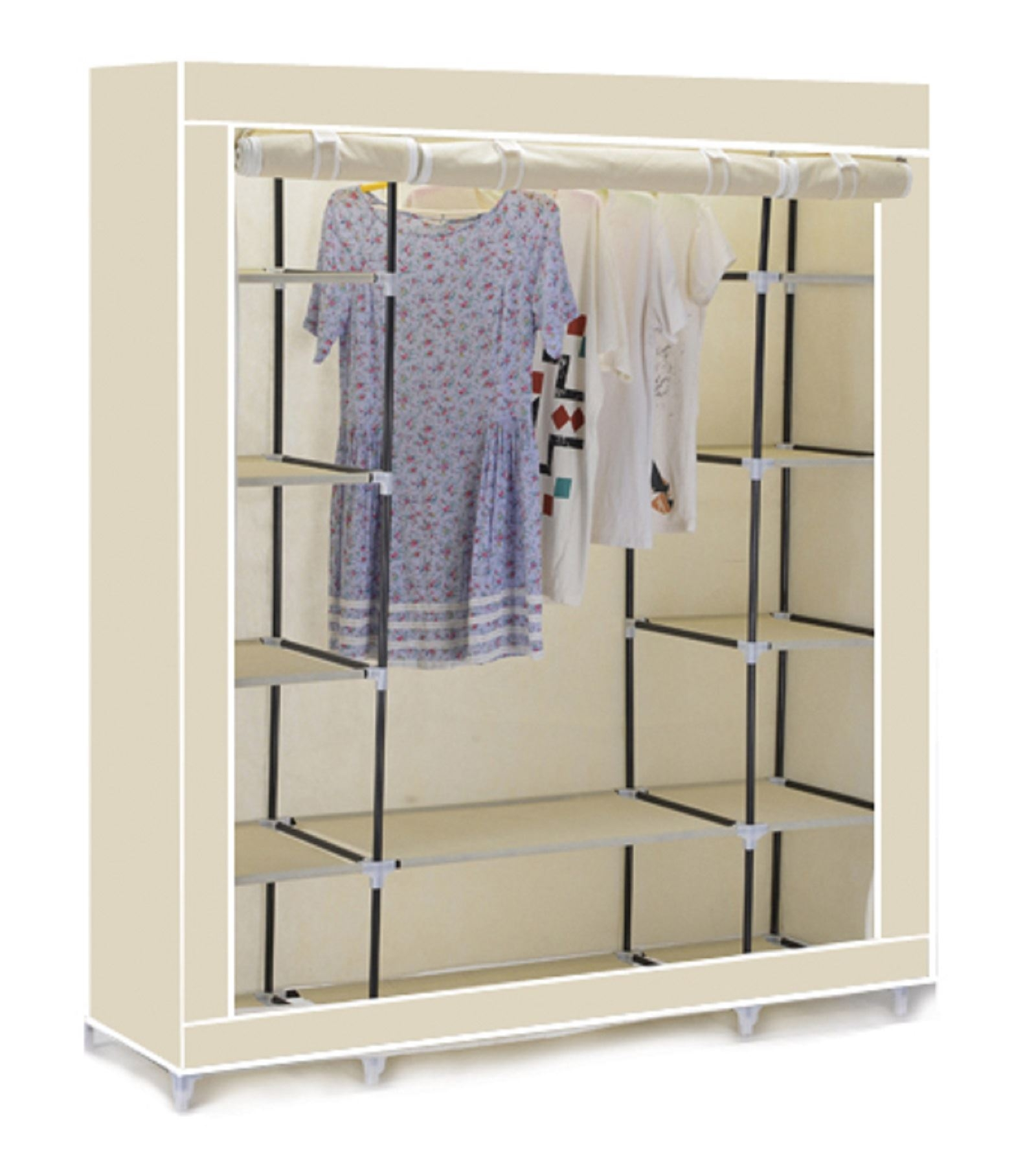 Triple Canvas Clothes Wardrobe Cupboard Hanging Rail With Storage With Regard To Double Rail Wardrobe (#14 of 15)