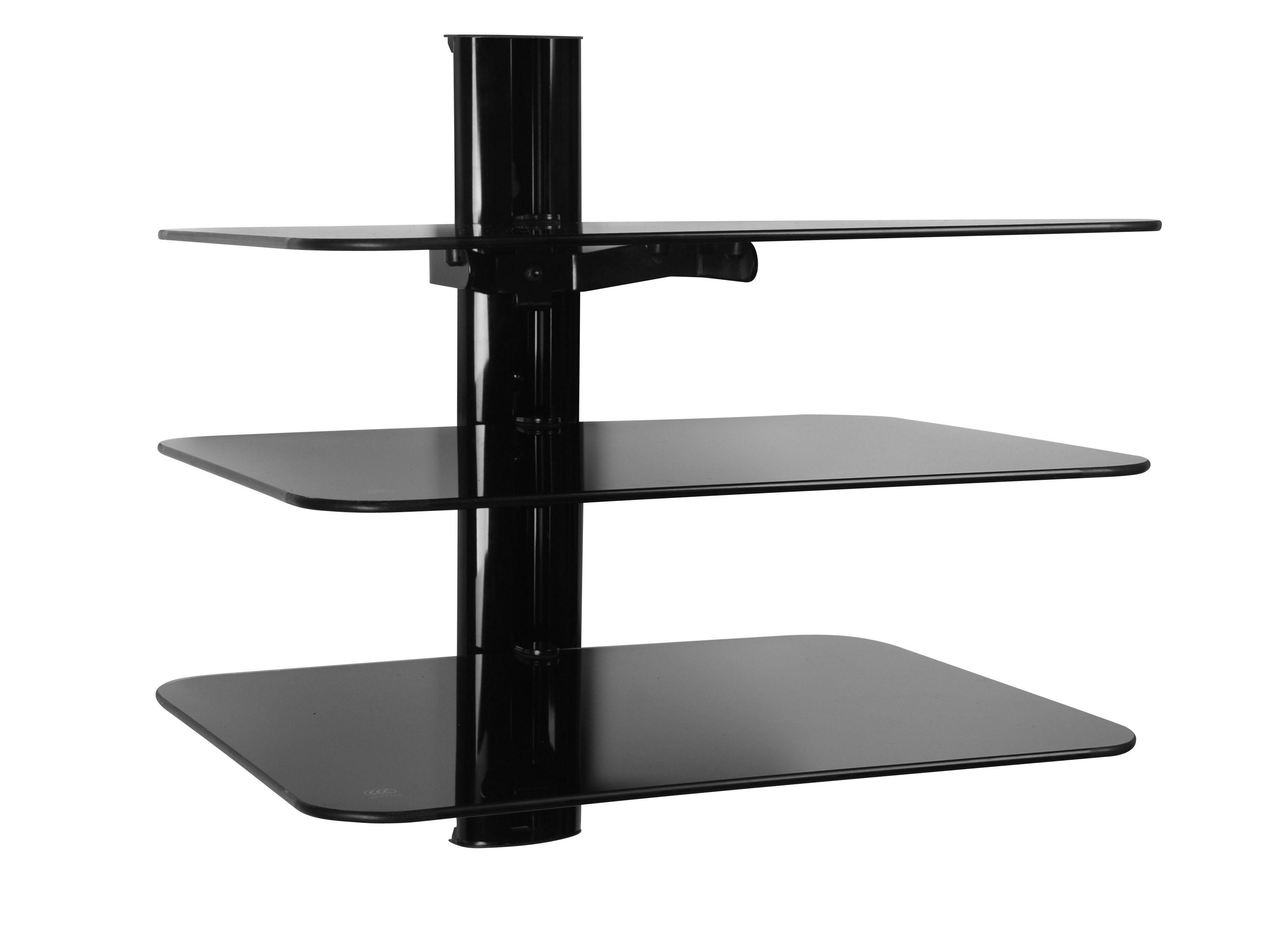Triple Glass Av Shelving System Intended For Wall Mounted Black Glass Shelves (View 8 of 15)