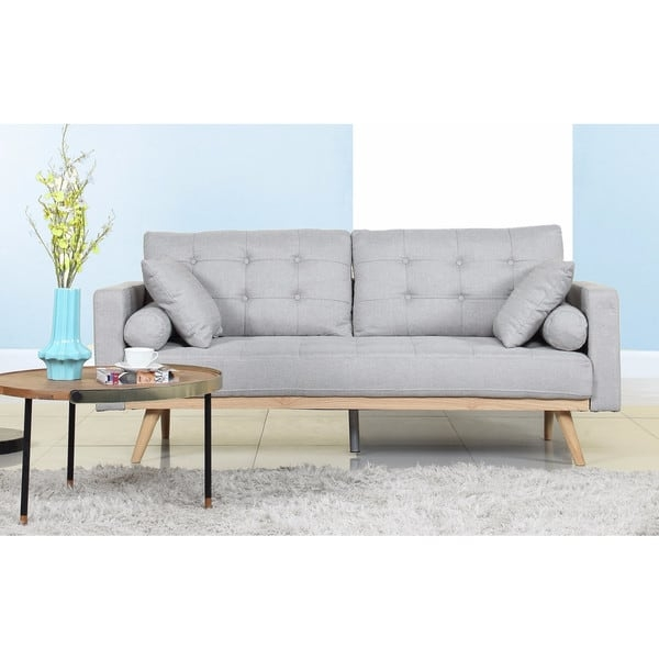 Tufted Linen Mid Century Modern Sofa Free Shipping Today Intended For Tufted Linen Sofas (#13 of 15)