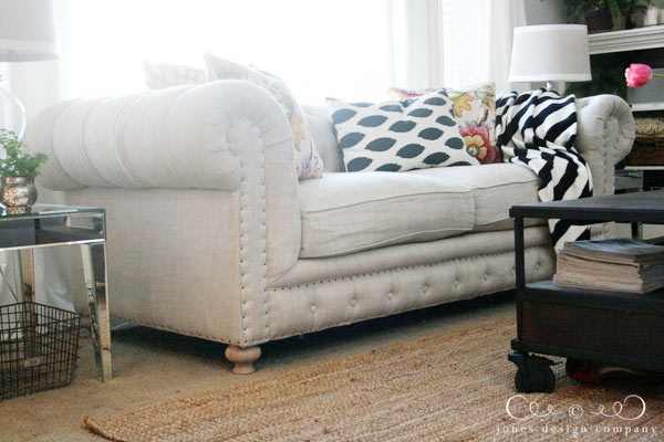 Tufting And Nailheads And Linen Oh My Jones Design Company In Tufted Linen Sofas (#14 of 15)