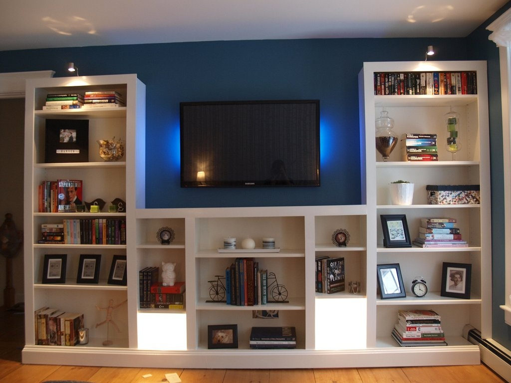Turning Ikea Bookshelves Into Builtins Diy Fan And Ikea Billy Throughout Built In Bookcases With Tv (#13 of 15)