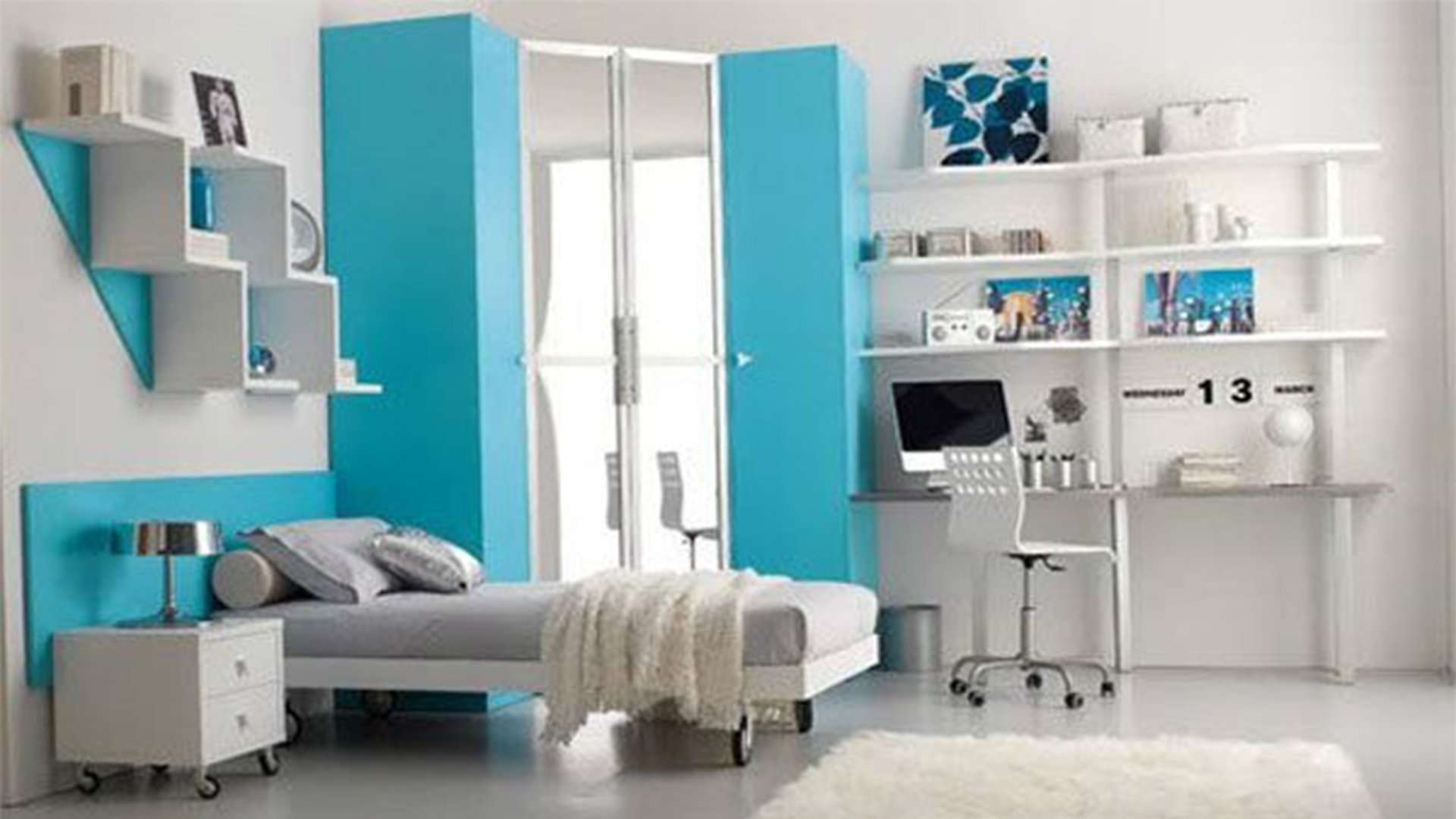 Turquoise Bedroom Set White Wooden Cabinet 4 Drawer Under The Desk With Regard To Bookcase With Cupboard Under (#10 of 15)