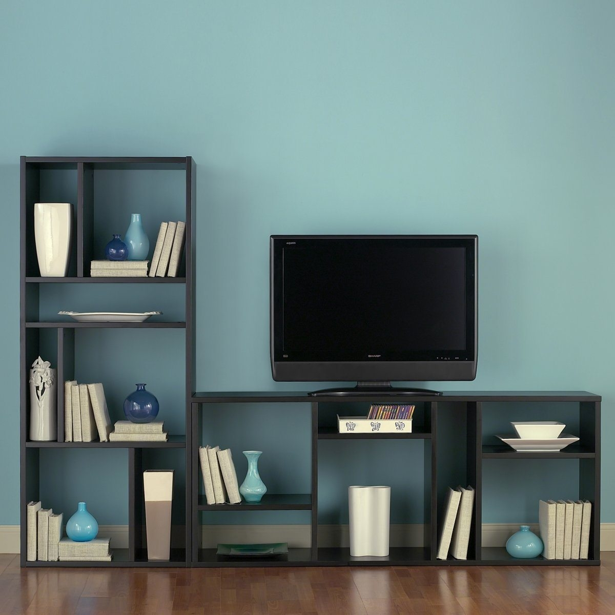 Tv Stands Inspire Black And White Tv Stand Bookshelf Design Ideas For Tv Unit With Bookcase (View 11 of 15)