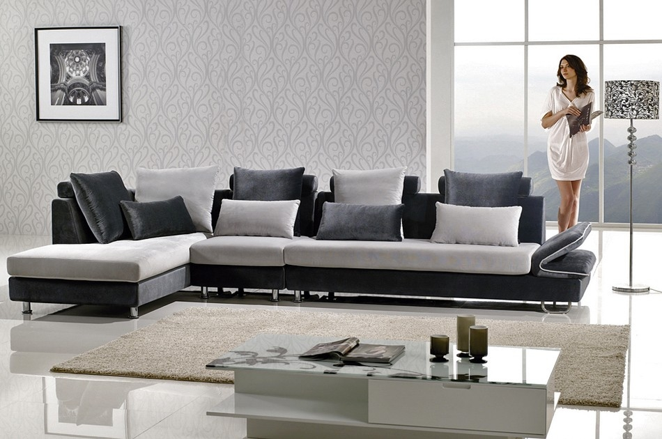 Two Tone Microfiber Sectional Sofa With Two Tone Sofas (View 2 of 15)