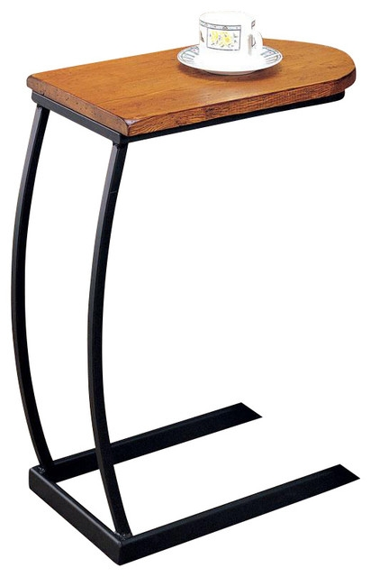 U Shaped Distressed Oak Wood Black Metal Base Accent End Chair For Sofa Snack Tray Table (#15 of 15)