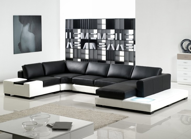 U Shaped Sofa With Bookcase In Livivng Room Black And White Sofas Throughout Black And White Sofas (#14 of 15)
