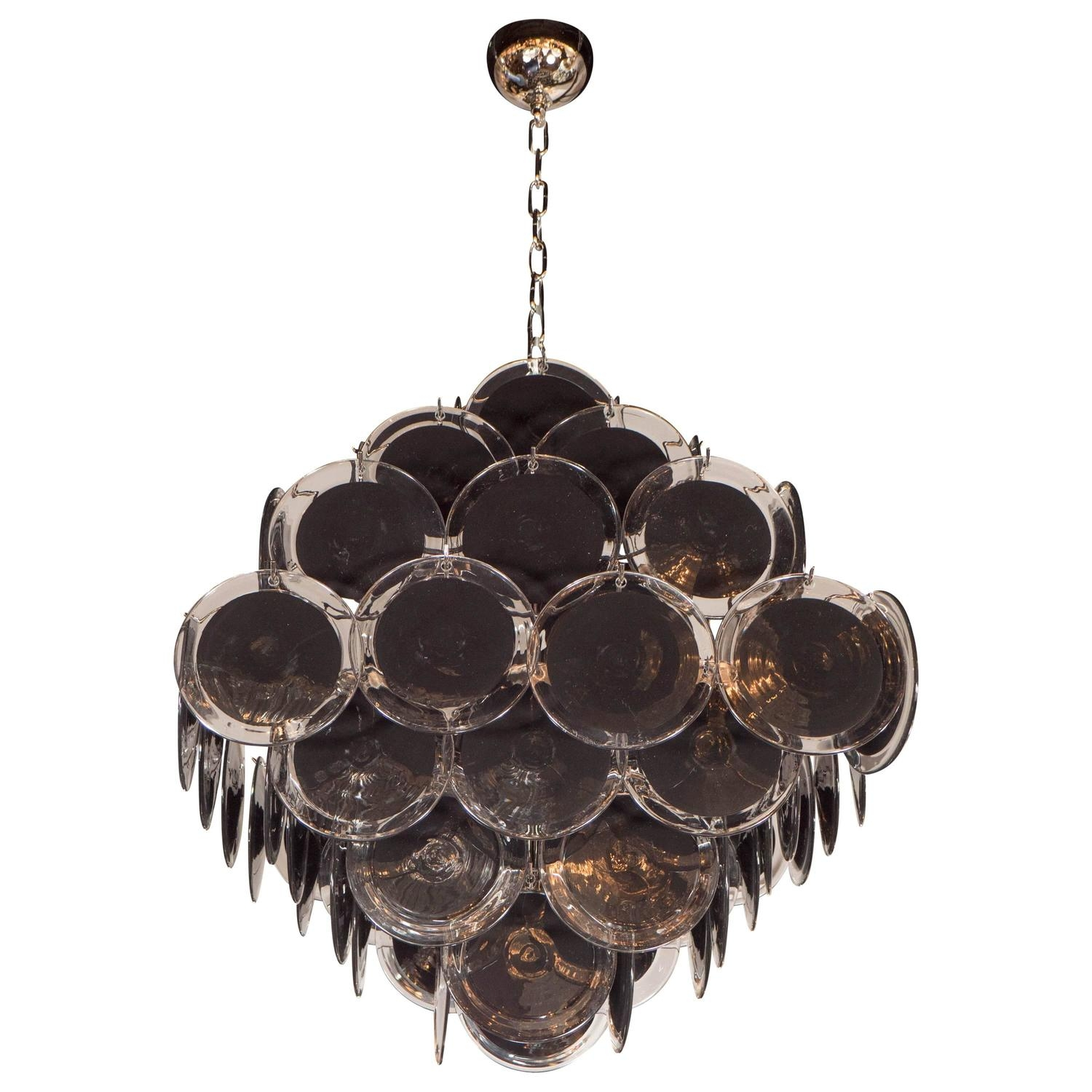 Ultra Chic Modernist Diamond Shaped Black Murano Glass Chandelier Throughout Black Glass Chandelier (#11 of 12)