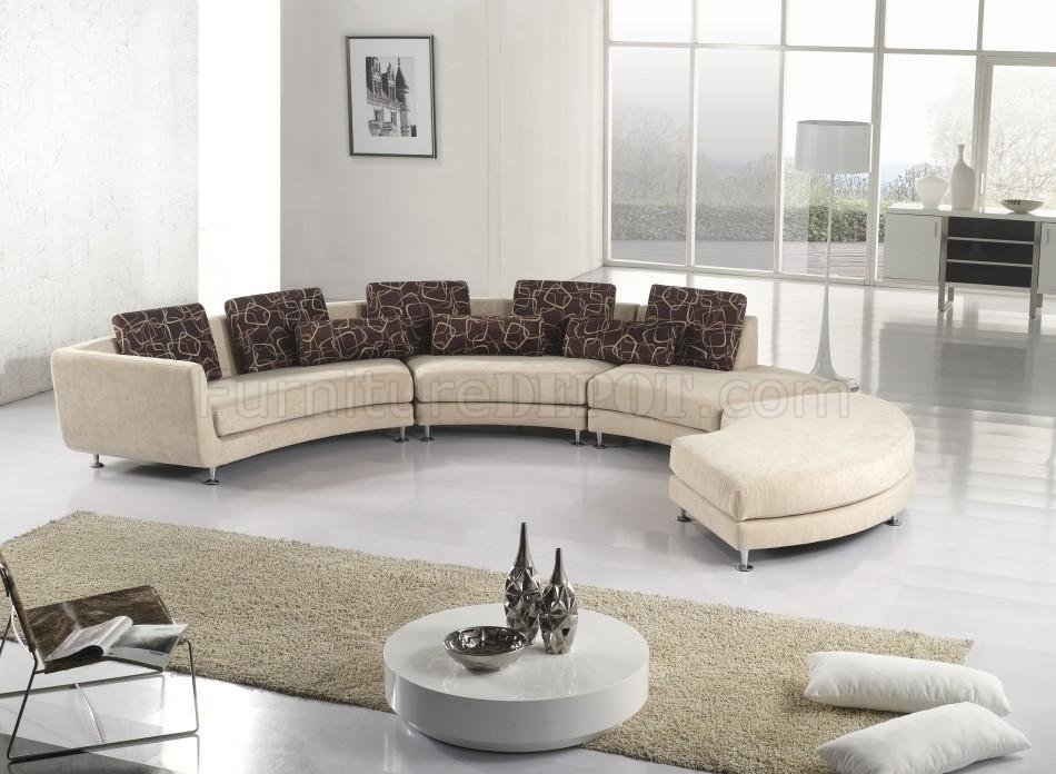 Inspiration about Ultra Modern 4pc Modular Sectional Sofa A94 Fabric Beige With Regard To Cloth Sectional Sofas (#15 of 15)