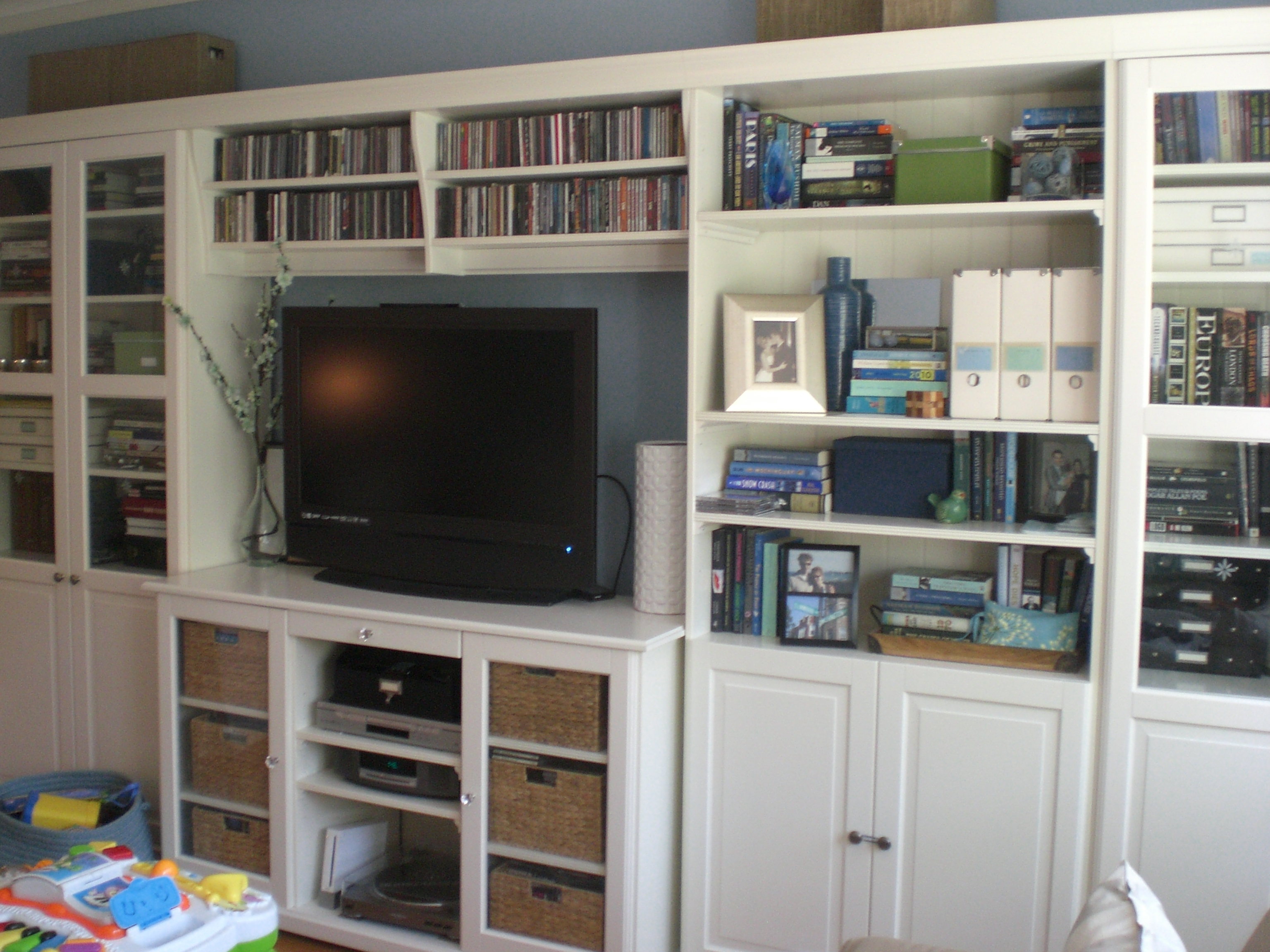 Uncluttering The Bookshelves Done In Bookcase With Tv Storage (#15 of 15)