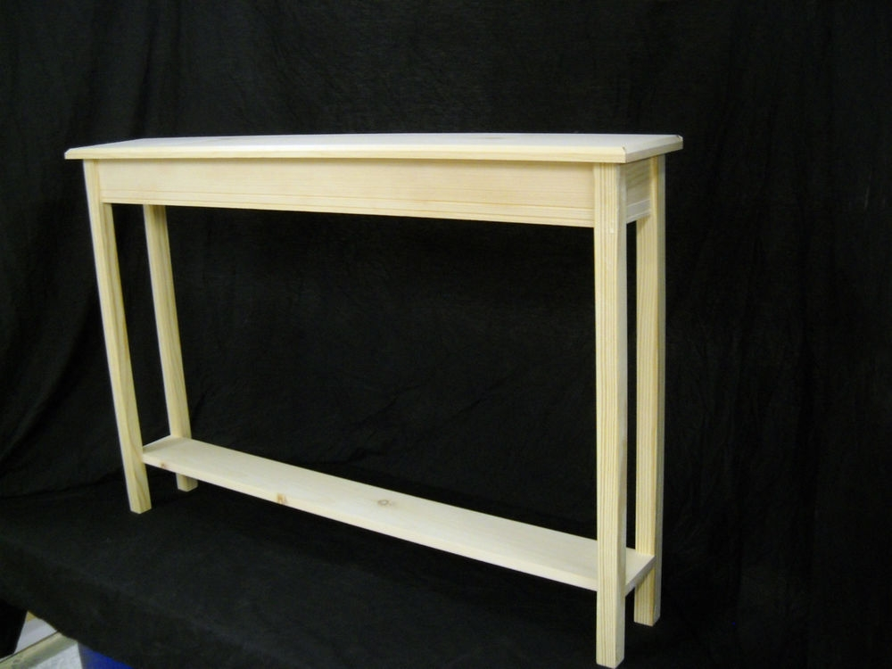 Unfinished 46 Narrow Console Sofa Foyer Beveled Edge Pine Table In Narrow Sofa Tables (#14 of 15)