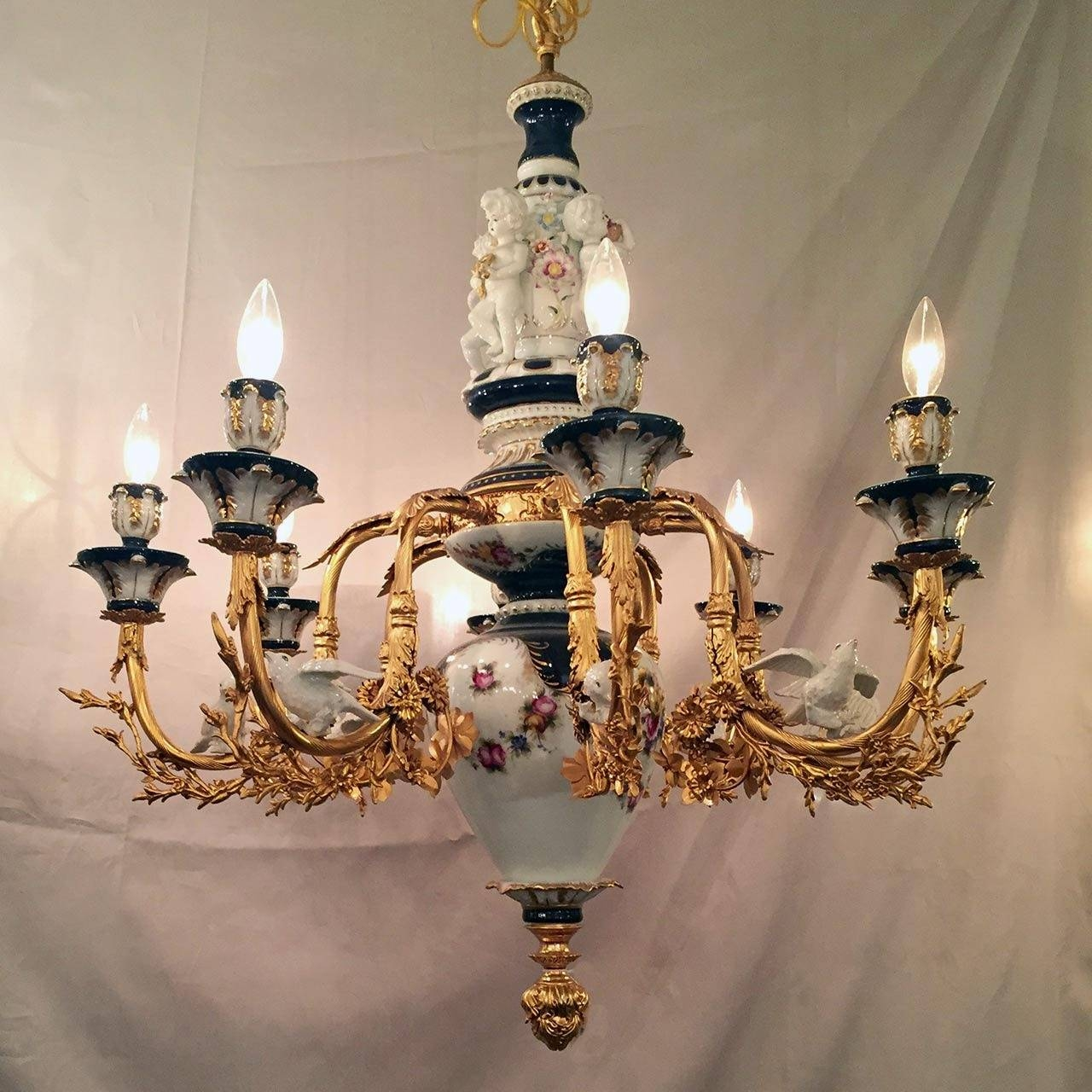 Unique Cobalt Blue White Gold Leaf Porcelain Chandelier With With Regard To Gold Leaf Chandelier (#11 of 12)