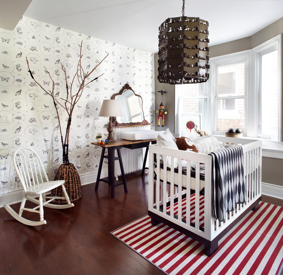 Inspiration about Unique Light Fixtures Nursery Contemporary With Red Striped Area With Regard To Wool Area Rugs Toronto (#13 of 15)