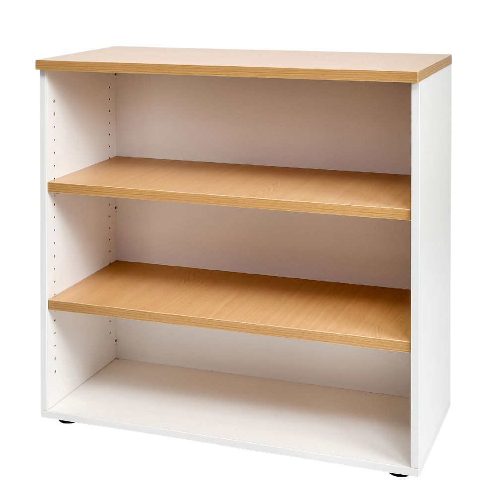 Velocity 900mm Bookcase Golden Beech And White Officeworks Throughout Beech Bookcases (#14 of 15)