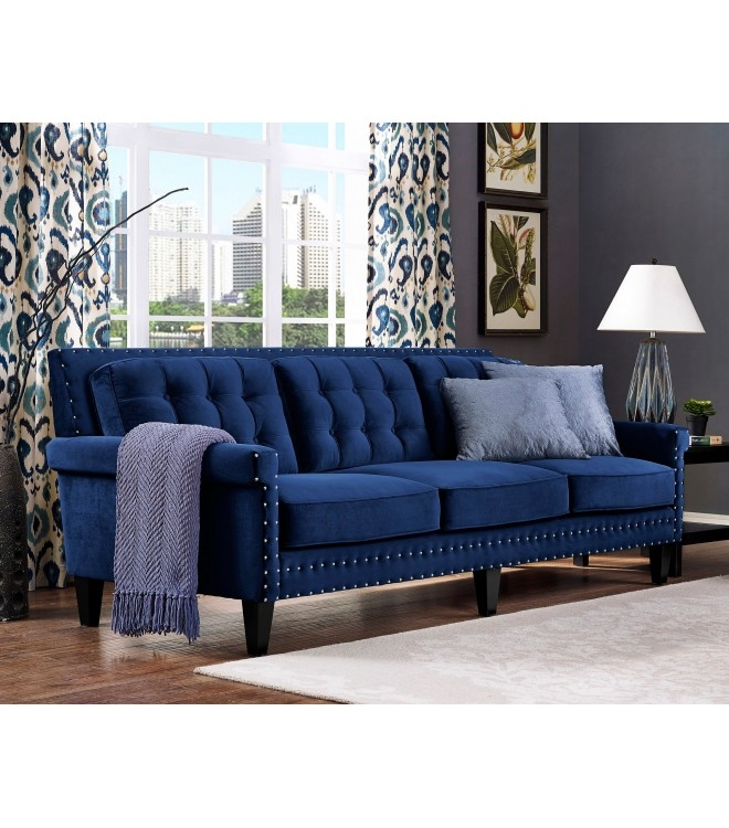 Velvet Tufted Sofa Nail Head Accents Within Blue Tufted Sofas (#15 of 15)