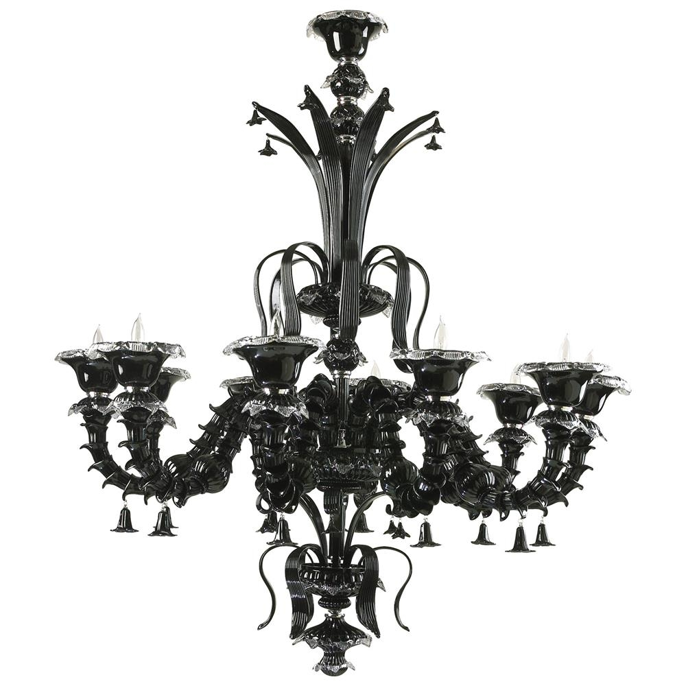 Venetian Gothic Noir Black 10 Light Murano Glass Style Chandelier For Black Glass Chandelier (#12 of 12)