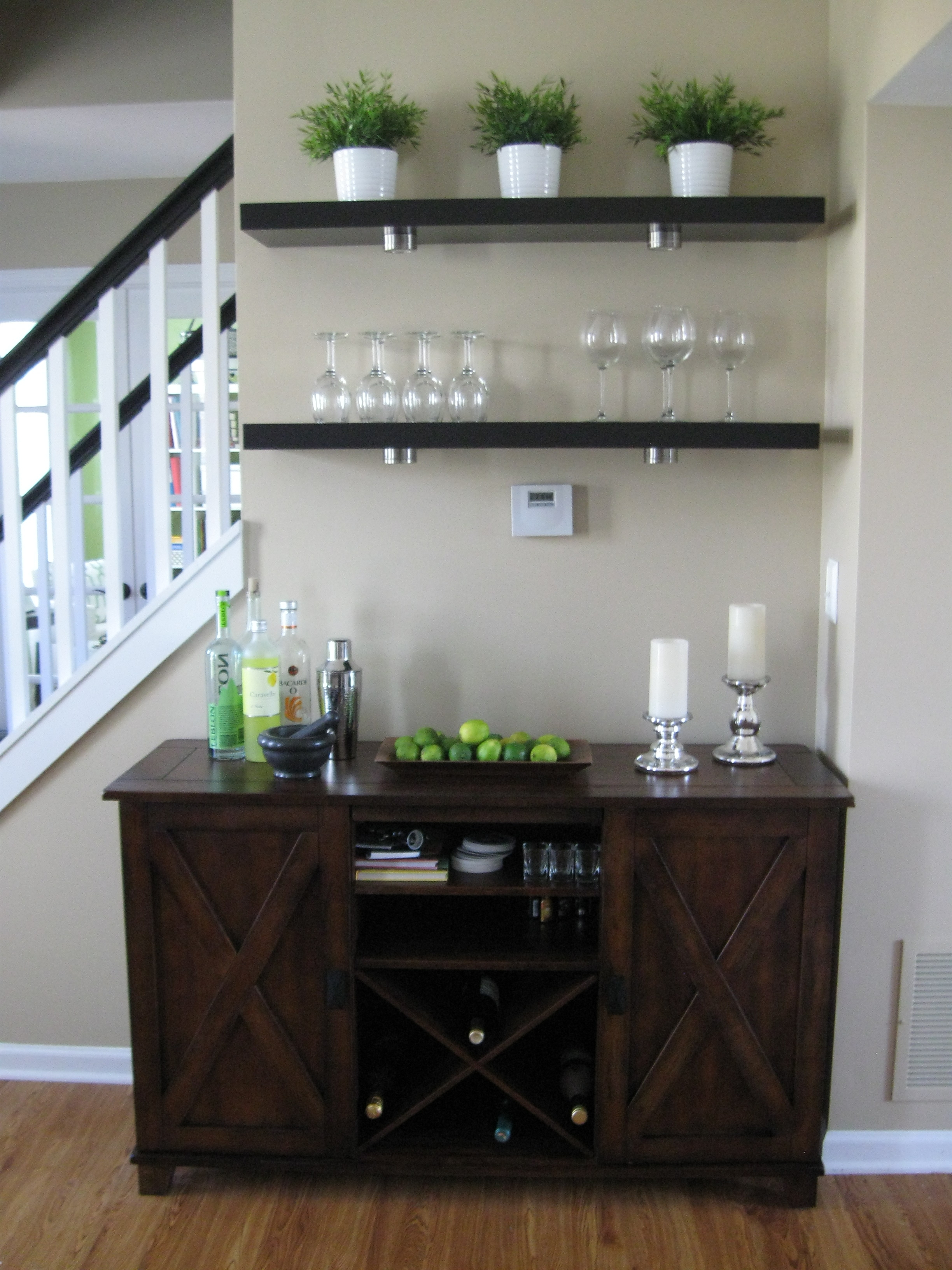 Verona Buffet Ikea Lack Shelves W Wine Glass Storage Underneath In Glass Shelves For Bar Area (View 12 of 12)