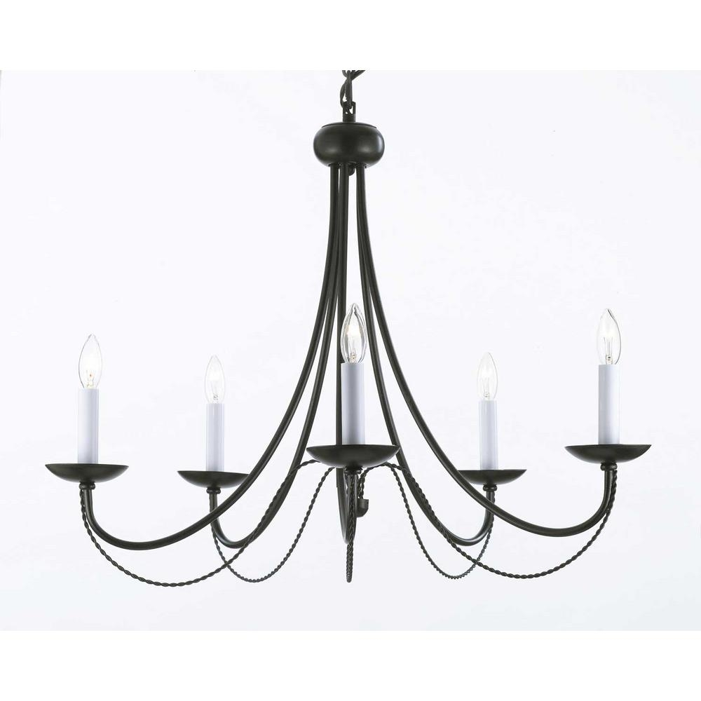 Versailles 5 Light Black Iron Chandelier T40 460 The Home Depot Within Iron Chandelier (#11 of 12)