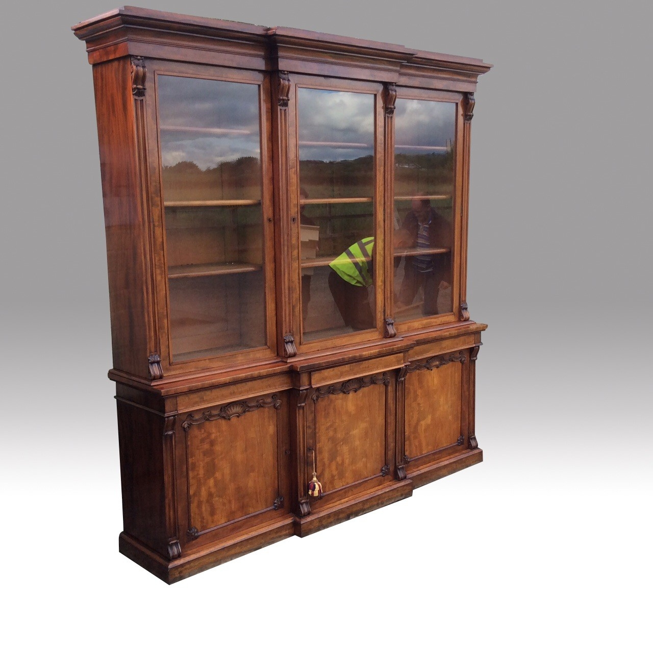 Very Fine Quality Antique Mahogany Three Door Library Breakfront Intended For Breakfront Bookcase (#11 of 15)