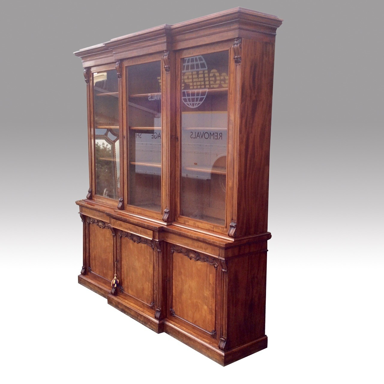 Very Fine Quality Antique Mahogany Three Door Library Breakfront Regarding Break Front Bookcase (#13 of 15)